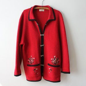 Vintage Red Wool Embroidered Cardigan